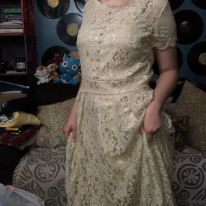 Beige Faux Vintage Dress